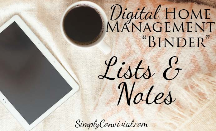 Digital Home Management Binder: Lists and Notes
