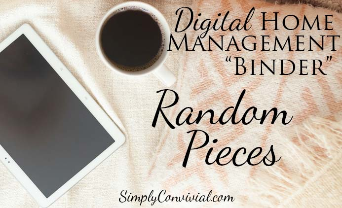 Digital Home Management Cinder: Random Pieces.