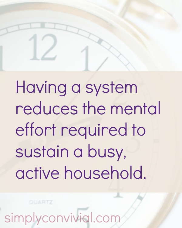 Having systems reduces the mental effort required to sustain a busy, active household. - Planning for Real Life is Possible
