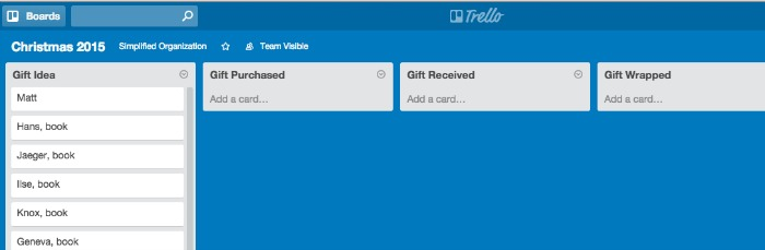 Trello is a different sort of task management app. It is the perfect app to organize your Christmas presents this year!