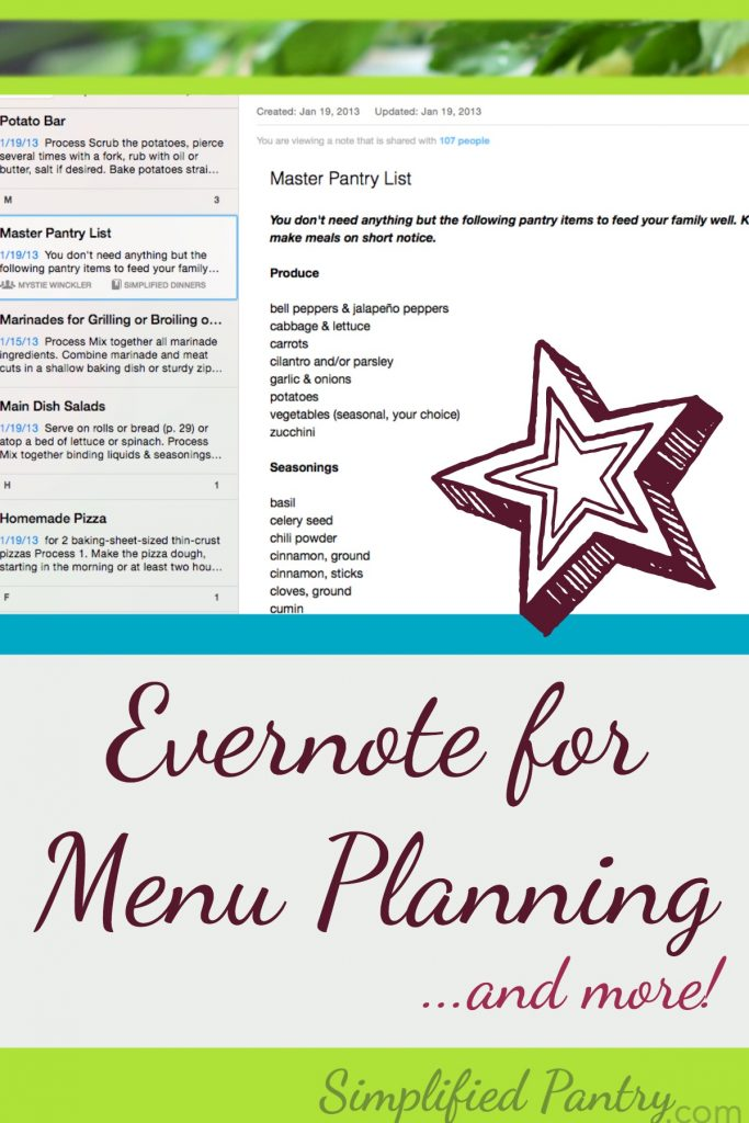 Evernote for Menu Planning