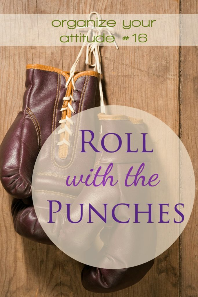 Roll with the punches is a little metaphor-motto that helps us handle whatever life throughs us with calm grace. Roll with the punches.