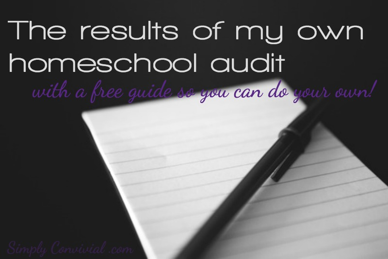 Here are the results of my own homeschool audit. Plus, a free guide so you can complete your own homeschool audit! Make smart changes for next year.