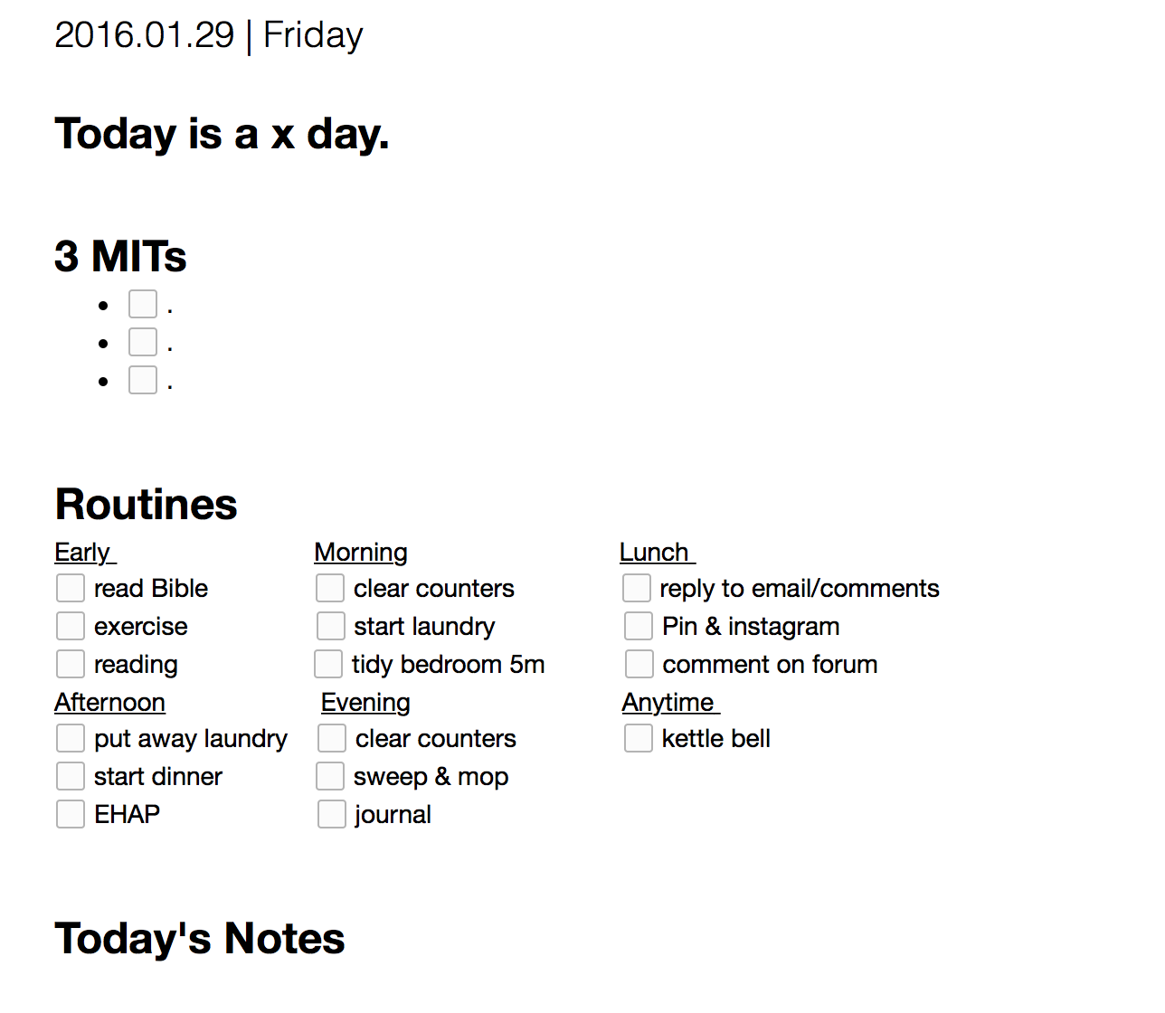 Evernote is a great place for a daily task list