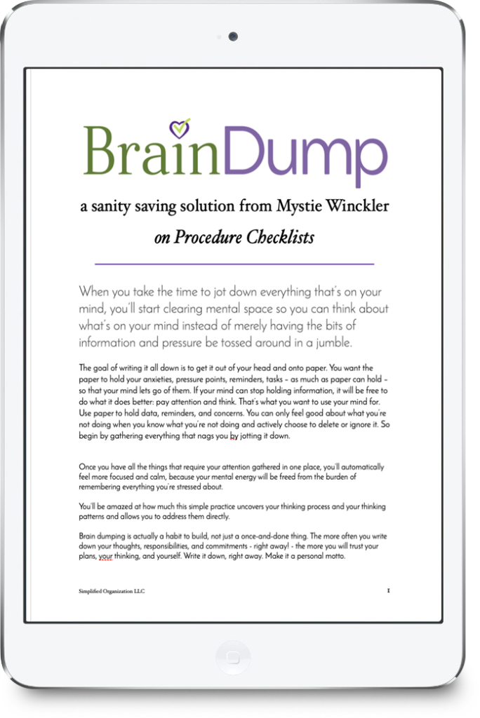 Brain dump to create your own procedure checklists